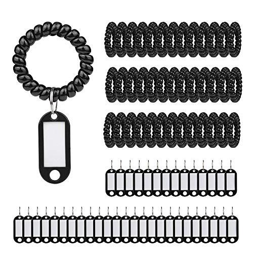 ABREOME Schlüsselanhänger Kunststoff Dehnbar Spirale Handgelenk Spule/Wrist Coil Schlüsselanhänger für Arbeit und Freizeit,Schwarz( 40 Stück