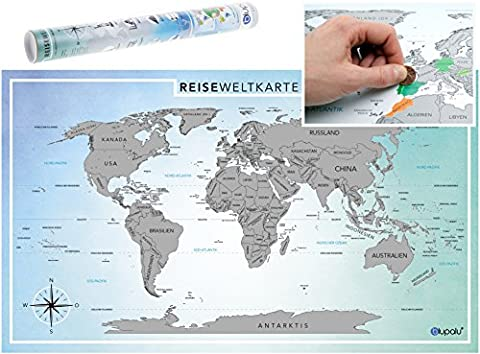 blupalu Weltkarte World Map Poster zum Rubbeln - Groß (XXL) - Rubbelkarte Landkarte Deutsch