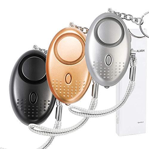 Persönlicher Alarm 140 db (3 Stück) - Taschenalarm mit Taschenlampe Schlüsselanhänger Panikalarm Selbstverteidigung Sirene Personal Alarm für Frauen Kinder Mädchen Alter Mann (Gold, Silver, Schwarz) - Personal-reißverschluss