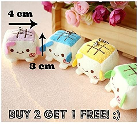 Buy 2 sets & get 1 set FREE! x4 Full Set of Super Cute 3-4cm Tofu Phone Charm / Keyrings Kawaii Soft Squidgy Plush Colorful Chinese Tofu Generic Cartoon Expression Smile Face Toy Unique Gift Luxury Accessories Animal Fashion Cookie cake cinnamon bun toast marshmallow bread (x4 Full Set) - Fossil Charm Bracelet Watch
