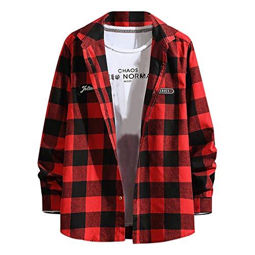 Herren Hemd Kariertes Freizeithemd Gestreift Mode Herbstmantel Regular Fit Lässige Formal Shirt mit Knopf Männer Lange Ärmel Stehkragen Bluse Hemd Tops (Formale Schößchen Bluse)