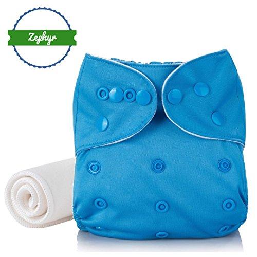 Couche lavable & réutilisable Zephyr® | Insert Coton & Bamboo [0 à 3 ans] (Bleue)
