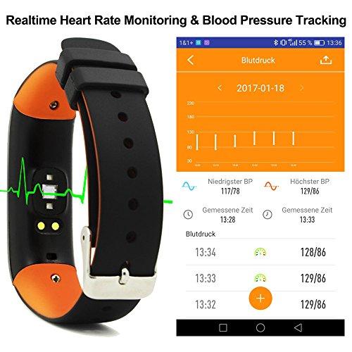 Herzfrequenz Pulsmesser mit Blutdruck,ROGUCI OLED 0.86 Zoll Schrittzähler Pulsuhr Blutdruckmessung,Aktivitätstracker Armbanduhr Fitnesstracker Blutdruckmessgerät mit Bluetooth Verbindung,und Anrufe, SMS, WhatsApp Nachrichten, Twitternachrichten für Android 4.3 Handy oder iOS 8.0 Smartphones -
