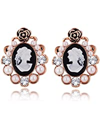 Spargz Rose Gold Plating AD Stone With Pearl Black & White Cameo Stud Earring For Women ALER 5061
