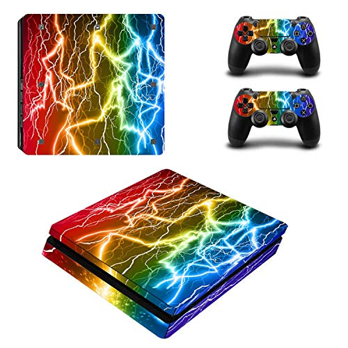 Price comparison product image WELLDRESSED Colorful Vinyl For PS4 Slim Sticker For Sony Playstation 4 Slim Console+2 controller Skin Sticker For PS4 S Skin ZY-0017, 1