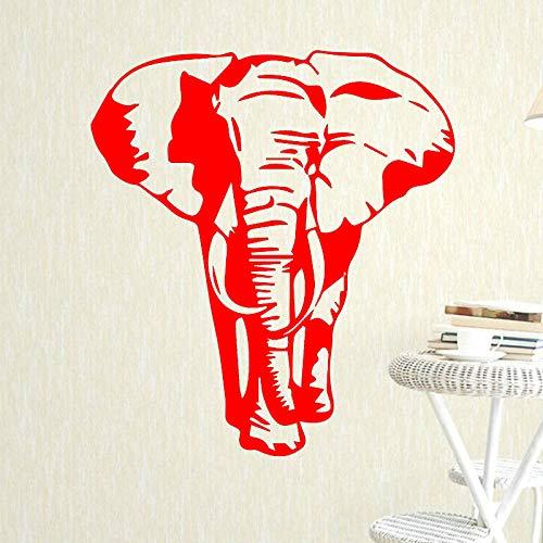 Patrón de elefante etiqueta de la pared para niños dormitorio decoración arte diseño extraíble impermeable vinilo pared calcomanía decoración del hogar cartel rojo 58 cm x 68 cm