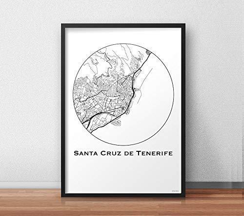 Plakat Santa Cruz de Tenerife, Kanarische Inseln Minimalist Map - Poster, City Map, Dekoration, ()