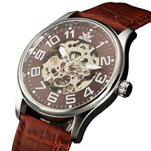Sewor Mens Mechanical Hand Wind Skeleton Transparent Wrist Watch (Brown)