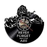 MUZIDP Der könig der löwen Wanduhr,Retro-Nostalgie Vinyl Mute Vinyl-Schallplatte Römische Zahlen Wanduhr,Für Home Dekorative wanduhr-A 12inch