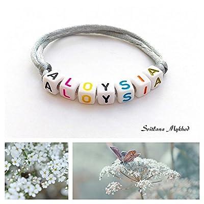 Bracelet ALOYSIA personnalisé avec prénom (réversible) homme, femme, enfant, bébé, nouveau,né.