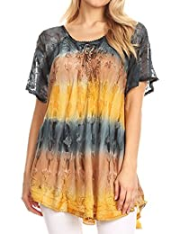 55ee1cf6bc7e44 Sakkas 16786 - Monet Long Tall Tie Dye Ombre Embroidered Cap Sleeve Blouse  Shirt Top -