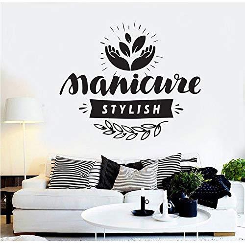 Wiwhy Beauté Salon De Coiffure Manucure Cosmétique Cils Motif Art Mural Vinyle Stickers Muraux Art Beauté Salon Fenêtre Décor Decal 66X56Cm