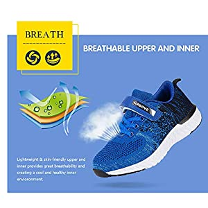 Kids Trainers Girls Lightweight Running Shoes Breathable Hook-Loop Sport Shoes Childrend Athletic Sneakers for School Outdoor Casual