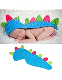 HAPPY ELEMENTS Bebé Niñas Niño hecho Dinosaur Photo Props Outfits 0-24Months Lovely hecho a mano Jumpsuit infantil Crochet traje suave Set