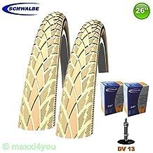 2 x Schwalbe Road Cruiser Neumático de la bicicleta Cubierta Reflex Crema + 2 Mangueras DV13 Válvula - 47-559 - 01022609CKDV