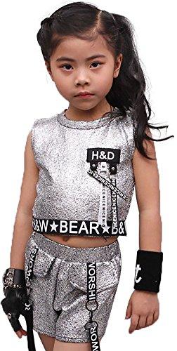 länzendes Metallic Hip Hop Jazz Kleidung Ohne Arm Top & Kurze Hosen Sportbekleidung Trainingsanzüge,Silber,passt Höhe 130cm (Erstellen Sie Ihr Eigenes Kostüm)
