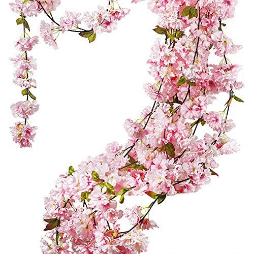 Turelifes 1 Packung 2,9 Meter/Stück künstliche Kirschreben hängende Blumengestecke Kunstgirlande Kranz Seidenblumen Schnur Home Party Hochzeit Decor Pink(Quality Upgrade)