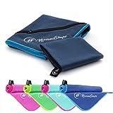 2er-Set Premium Mikrofaser Handtücher - inkl. Packtasche | 70x140 + 40x60 cm | Ultra saugfähige & schnell trocknende Sport- und Badehandtücher mit praktischer Reißverschluss Ecktasche | Ideal für Fitness, Yoga, Sauna, Outdoor, Reise