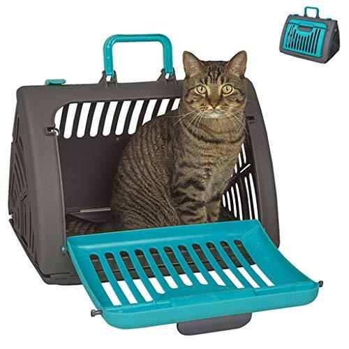 NXKang Transportbox für Katzen und Hunde, faltbar, für Reisen, Katzen, Vordertür, Kunststoff, zusammenklappbar, gemütliches Kissen -