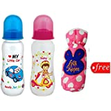Gilli Shopee Bottle Cover Free With Mee Mee Premium Baby Feeding Bottle, 250ml Pack Of 2 (Blue & Pink)
