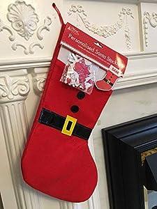 Shatchi Personalizable-SANTA-STOCKING-3580 - Calcetín de Papá Noel personalizable con accesorios de decoración navideña, color rojo y blanco