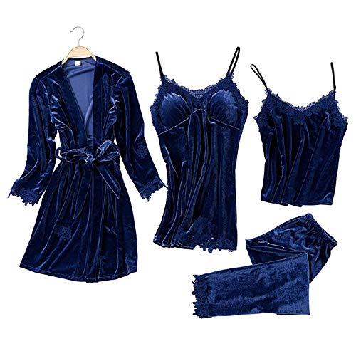 Gold Velvet 4 Pieces Pyjamas Sets Frauen Sexy Lace Robe Pyjamas Nachtwäsche Kit ärmellose Nachtwäsche (Color : Blue2, Size : L) Satin-trimmed Velvet