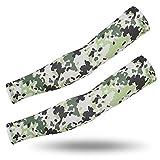 YanJot di Grandi Dimensioni a Cavallo Protezione Solare Bracciale Fan Militare Armature di Seta del Commando Tattica Mimetica Arm Set Camouflage - Verde Chiaro