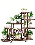 Pflanzenregale Hölzerner Blumen-Stand mit Caster Movable Flowerpot-Präsentationsständer für Balkon Innen Blumenständer