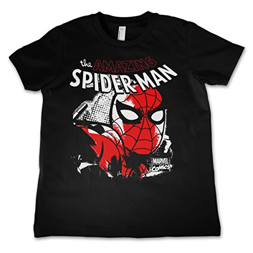 Officially Licensed Merchandise Spider-Man Close Up Unisex Kids T Shirts - Black 5/6 Years