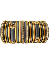 Party Wear Silk Thread Grey - Gold Color Combination Silk Thread Bangles Set