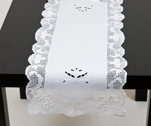 Riedenburg Tischläufer m. Spitze im Landhausstil, 100% Baumwolle, ca. 30x75 cm, Farbe weiß, 13075