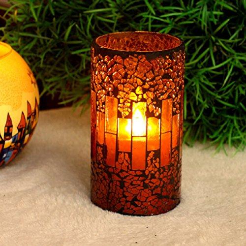 LEDMOMO Led Teelicht Flammenlose Kerze Batteriebetriebene LED Kerzen mit Timer für Halloween Party Hauptdekorationen (rot)