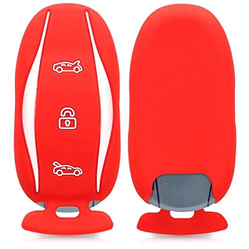 kwmobile Funda de Silicona para Llave para Coche Tesla Model S - Carcasa Protectora [Suave] de [Silicona] - Case Mando de Auto [Rojo]