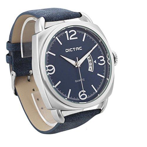 Dictac Herrenuhr Lederarmband Armbanduhr Männer Analog japanische Quarz schwarz PU-Leder quadratische Uhr mit Leuchtzeigern Matte Material mattschwarze rostfreie schnalle (black) (Blau + Silber)