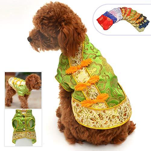 Lovelonglong 2019 Hundekostüme Cheongsam Qipao Kleider für kleine Hunde Katzen Haustiere Tang Dynastie Kostüm, L (for small Dog), grün