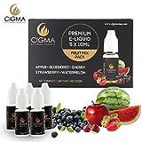 CIGMA 5 X 10ml E Liquid Gemischte Früchte 0mg (ohne Nikotin) Apfel | Blaubeere | Kirsche | Erdbeere | Wassermelone | Neue Formel mit nur hochwertigen Zutaten | Hergestellt für elektronische Zigaretten und E Shisha