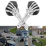 Mano Calavera Moto Espejo, 8mm 10mm Motocicleta Retrovisores Espejos para Sportster Dyna Fatboy Softail Shadow Vulcan Virago Vstar (Negro + Cromo Mano del Cráneo)