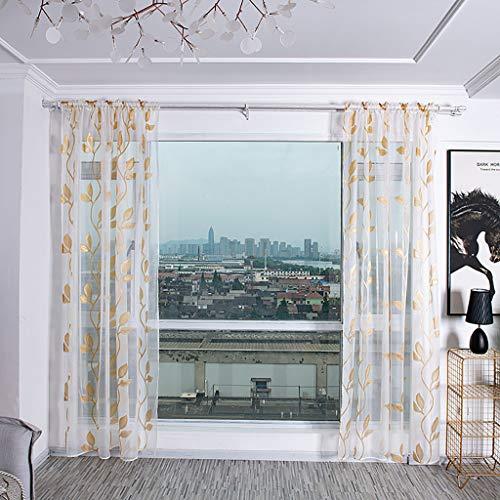Gardine Schals Vorhänge mit versteckten Schlaufen & edel Stickerei Wohnzimmer Modern,Bäume Gardine Tüll Fenster Voile drapieren Volant Stoff,Gardinen Schals Leicht & Soft (Gelb)