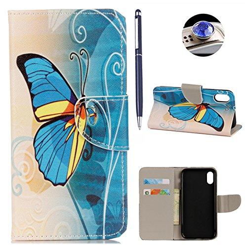 iPhone X hülle,AyiHuan Folio PU Leder Handyhülle Wallet Case Flip Cover mit Magnetverschluss, Kartenfach und Standfunktion Schutzhülle für Apple iPhone X,Sahne Eimer Blauer Schmetterling