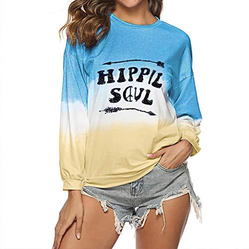 ZHANSANFM Damen Rundhals Pulli Pullover Buchstaben Gedruckt Langarmshirt Sweatshirts Herbst Locker T-Shirt Frauen Sexy Casual Sweater Elegant Tops Bluse Weiche Tunika Oversize(2XL, Blau) -
