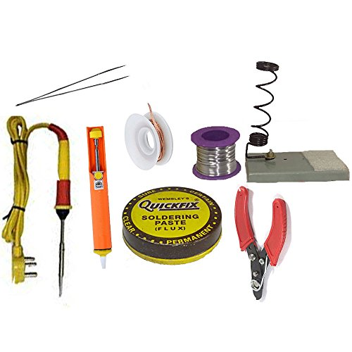 GILHOT ® Soldering Kit Advance Range - 8 in One soldering kit with multiple instruments Accessories, with a 50 grams solder wire with which you can practice well enough to learn the art of soldering. Kit with 8 parts  available at amazon for Rs.490