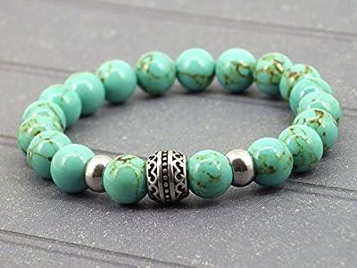 Bracelet pour homme de la gamme Oriental Sun en acier et turquoise bleue