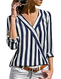 Lisli Chemisier à Rayures Femme Manches Longues T-Shirt Cache-Coeur en  Mousseline de Soie Col V… 41fd8f7360a