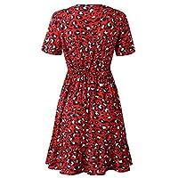ArgoBar Women Summer Boho Short MINI Leopard Dress Evening Party Club Wear Beach Sundress Deep V Neck