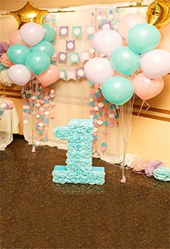 GzHQ 6x8ft Vinyl Fotografie Hintergrund 1. Geburtstag Dekorationen Mädchen Indoor Rosa und Blau Luftballons Szene Foto Hintergrund Kinder Baby Erwachsene Porträts Hintergrund - 8' Vinyl