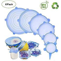 HSYTEK Couvercles en Silicone 6 pcs, Couvercle Extensibles en Silicone sans BPA, Eco-Friendly réutilisable, Universel de 6 Tailles Differentes pour Micro-Ondes/Le Frigo/Le Lave-Vaisselle/Le Four