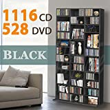 Storage Black Shelf Rack Unit 1116 CD/528 DVD
