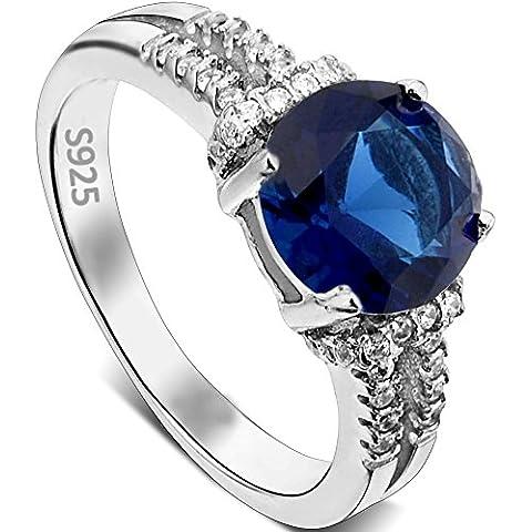 Argento Sterling 925 Ever Faith settembre Birth Stone Zaffiro Colore CZ impegno anello