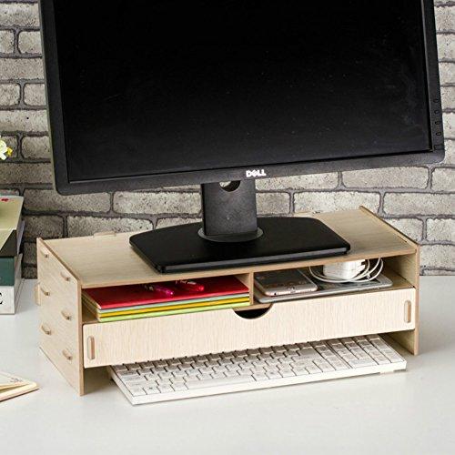 Dreamaccess TV en bois pour ordinateur portable PC support de moniteur, Extra tiroir, poche pour téléphone portable, bibliothèque, stylo, Box, quotidien Stuff Organiseur Moyen chêne