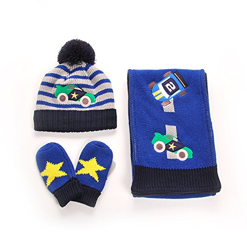 Preisvergleich Produktbild MAI Kinder Auto Tuch Aufkleber Baumwolle Baby Linie Hut Schal Handschuhe Dreiteilige Baby,Blau,Hut S Kopfumfang 44